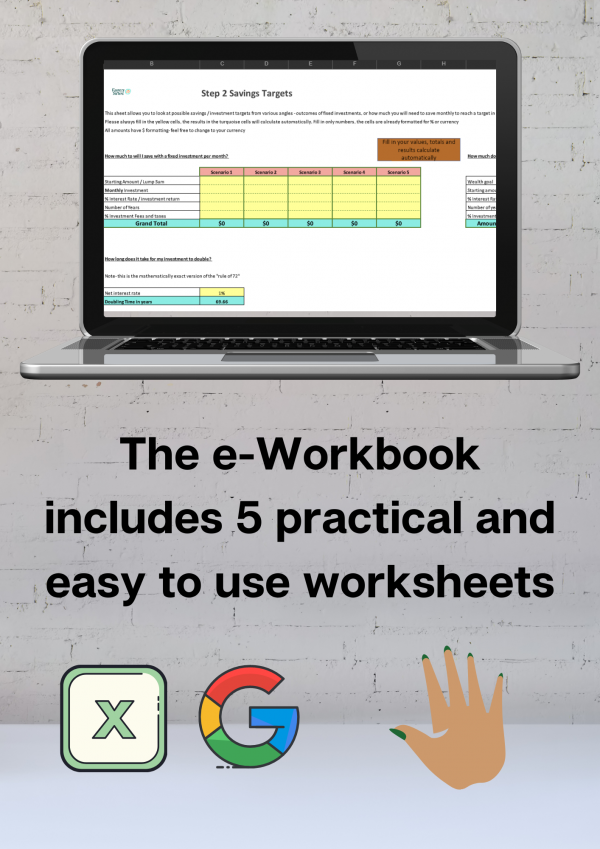 The e-Workbook includes 5 practical worksheets